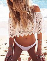 Women's Sexy/Beach Micro Elastic Short Sleeve Short Blouse (Lace)