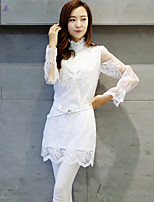 Women's Floral/Solid Pink/White T-shirt , Stand/Ruff Collar Long Sleeve Embroidery