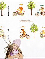 Wall Stickers Wall Decals Style Cartoon Animals Ride Bicycles PVC Wall Stickers