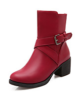Women's Shoes Chunky Heel Fashion Boots/Round Toe Boots Dress/Casual Black/Red/White