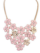 Women's European Style Fashion Elegant Small Floral Flower Alloy Necklace With Rhinestone