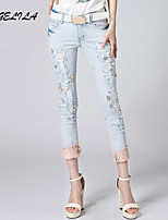 Women's Casual Thin Sequins Middle Waist Jeans Skinny Pants(Without Belt)