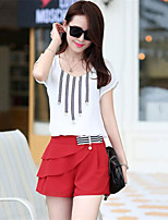 Women's Casual Inelastic Short Sleeve Regular Blouse & pants (Chiffon)
