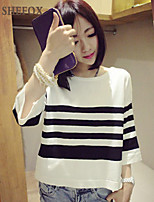 Women's Casual Stretchy Medium ¾ Sleeve Pullover (Knitwear) SF7D09