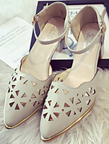Women's Shoes Chunky Heel Pointed Toe Sandals Dress White/Silver/Gray