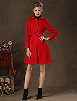 Women's Vintage/Casual/Party/Work Lapel Color Thick Long Sleeve Long Coat (Wool/Cashmere/Polyester)