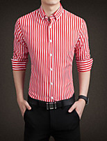 Men's Casual Striped Long Sleeve Regular Shirt