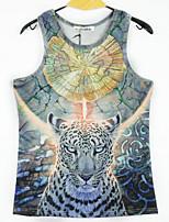 European Style TEE Digital Printing 3D Sleeveless Flying Leopard Harajuku Vest