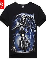 Men's Casual Print Short Sleeve Regular T-Shirt (Cotton/Lycra)