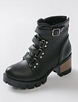 Chaussures Femme Similicuir Gros Talon Bout Arrondi/Bottes à la Mode Bottes Habillé Noir/Marron/Rouge
