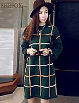 Women's Casual/Work Micro-elastic Medium Long Sleeve Dress (Knitwear) SF7B18