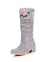 Women's Shoes Fabric Chunky Heel Round Toe Knee High Boots Dress More Colors available