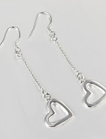 Wedding Dress Love Heart Design Silver Plated Drop Earrings for Lady