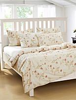 H&C 100% Cotton 1200TC Duvet Cover Set 4-Piece Pink  Flowers Pattern Beige Background  HT-002