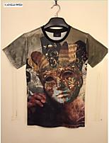 Summer Fashion Men's Short Sleeve Cotton 3D Print T-shirt Leisure Jacket ShirtTops