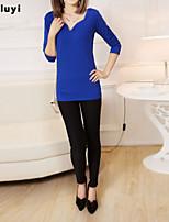 Women's Casual/Work Micro-elastic Long Sleeve Long T-shirt (Cotton)