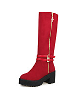 Women's Shoes Chunky Heel Fashion Boots/Round Toe Boots Office & Career/Dress/Casual Black/Red