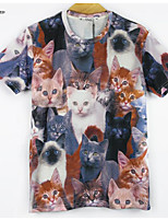 Mens Women's Cats Printed Graphic Custom Round Top T-Shirt Blouse