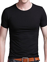 JISNEY Men's Short Sleeve T-Shirt,Cotton Casual / Work / Formal / Sport / Plus Sizes Solid