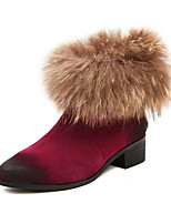 Women's Shoes  Chunky Heel Bootie Boots Casual Black/Burgundy