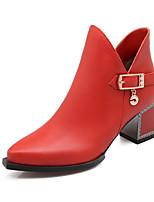 Zapatos de mujer Semicuero Tacón Robusto Botines/Puntiagudos Botas Vestido Negro/Naranja