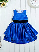 Girl's Satin Dress , All Seasons Sleeveless