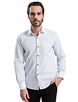 2015 Business Casual Long Sleeve Turn-down Collar Light Blue Small Plaid Men Dress Shirt White Collar and Cuff (8112)