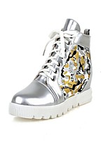 Women's Shoes Wedge Heel Wedges/Fashion Boots/Round Toe Boots Dress White/Silver