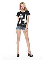 Women's Print/Letter Black T-shirt , Round Neck Short Sleeve Criss-Cross