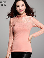 Women's Solid/Patchwork Pink/Black/Purple Blouse , Turtleneck Long Sleeve