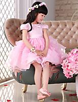 Flower Girl Dress Knee-length Lace/Organza Princess Short Sleeve Dress