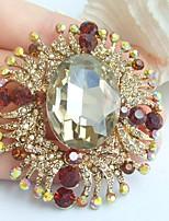 2.36 Inch Gold-tone Topaz Rhinestone Crystal Flower Brooch Pendant Art Decorations