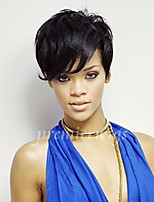 6 '' à court cheveu humain rihanna couper perruques non transformés remy vierge brésilien sans colle machine à aucune de dentelle
