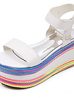 Women's Shoes Wedge Heel Round Toe Sandals Casual White/Silver