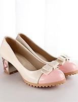 Women's Shoes Faux Leather Chunky Heel Heels Pumps/Heels Office & Career/Casual Black/Blue/Pink