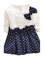 Girls Spring Fall Long Sleeve Bow Corsage Stars Hem Princess Party Dress (Cotton)