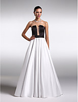 Formal Evening Dress A-line Strapless Floor-length Satin