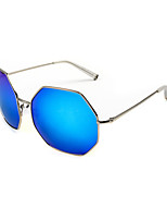 100% UV400 Round Polygon Mirrored Sunglasses