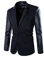 Men's Long Sleeve Jacket , Cotton Blend Casual/Work Pure