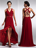 Formal Evening Dress - Burgundy Sheath/Column V-neck Sweep/Brush Train Chiffon