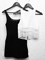 Women's White Vest , Round Neck Sleeveless