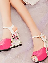 Chaussures Femme - Bureau & Travail / Habillé - Noir / Bleu / Rouge - Talon Compensé - Compensées / Bout Ouvert - Sandales - Similicuir