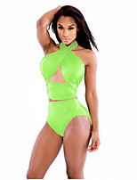 Women's Halter Tankinis , Solid Wireless Polyester Green