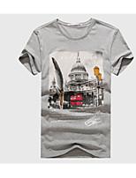 Men's The Taj Mahal Printed Round Collar Cotton Short Sleeve T-shirt