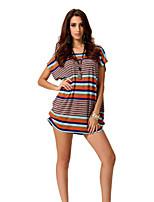 Women's Sexy/Print Stretchy Short Sleeve Regular T-shirt (Spandex/Acrylic)