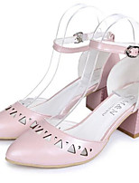 Women's Shoes Chunky Heel Round Toe Pumps/Heels Dress Blue/Pink/White