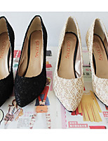 Women's Shoes Lace Stiletto Heel Heels/Pointed Toe Pumps/Heels Casual Black/Beige