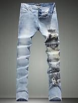 Men's Casual Slim Fit Woman and  Wolf Print Jeans Blue Denim Pants (Cotton/Denim)