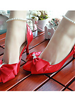 Women's Shoes Leather Stiletto Heel Heels/Round Toe Pumps/Heels Wedding/Party & Evening Red