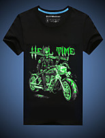 CliffWalker Men's Casual Black Printed Glowing-in-the-dark Round Short Sleeve Luminous T-Shirts